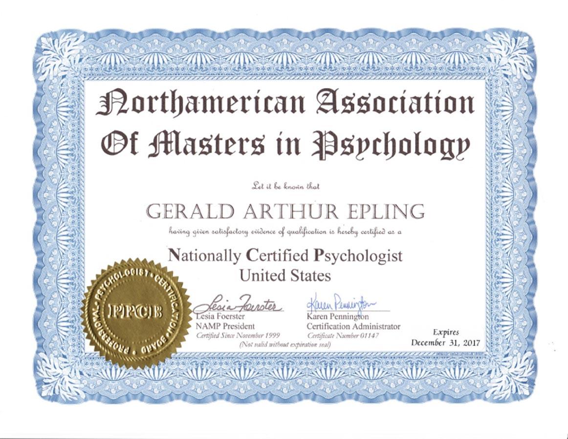 Nationally Certified Psychologist Epling